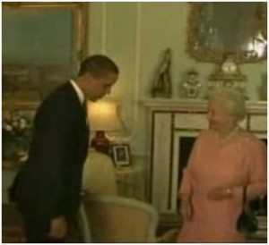 Obama bows to his queen