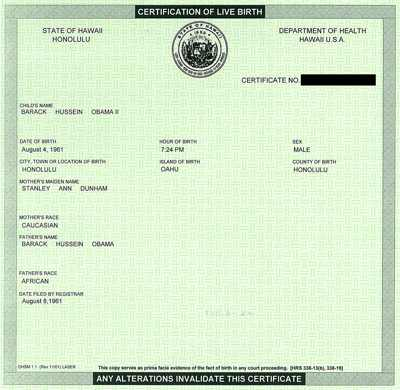 "Barack Obama's ""birth certificate"""
