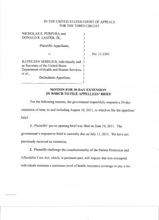 Page 1 of request by the Department of Justice for a 30-day extension to file its appellee response to the Purpura/Laster lawsuit against the PPACA